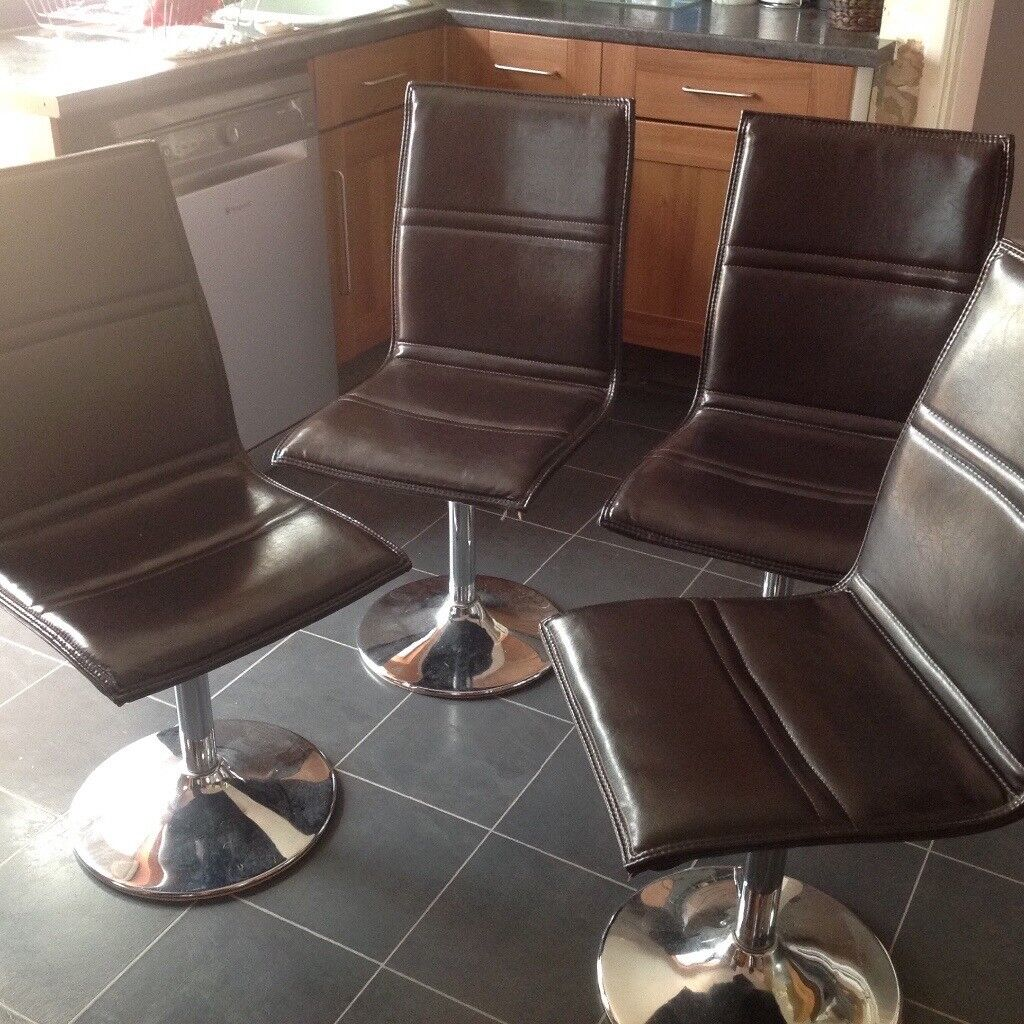 4x quality swivel leather effect chairs, stainless steel bases