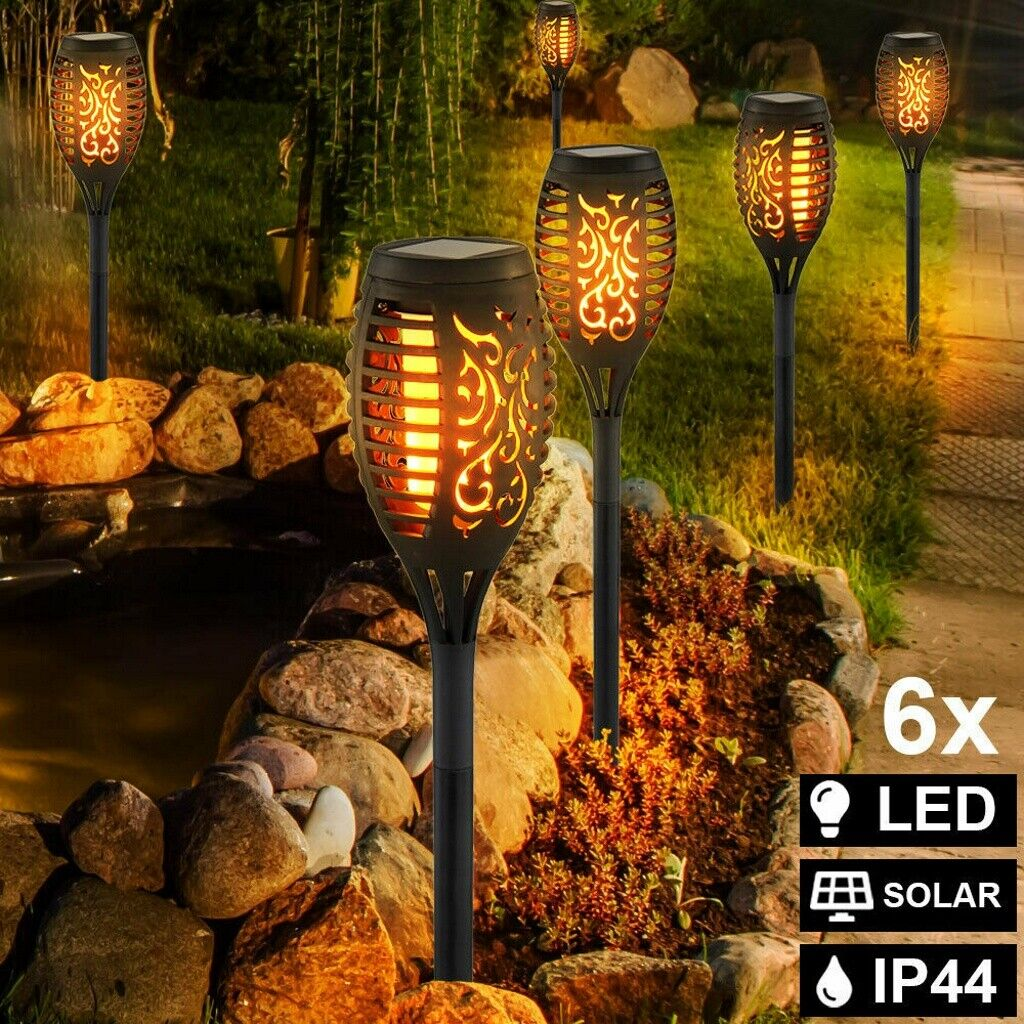 6pcs 12 led solar power torch light