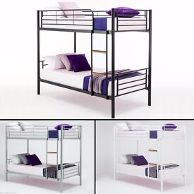 *70% OFF* SINGLE HIMLEY METAL BUNK BED - AVAILABLE IN THREE COLORS (BLACK/WHITE/SILVER) Opt Mattress