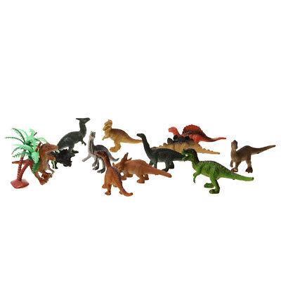 12 Stück Mini Dinosaurier Figuren Plastik Dino Modell im Kunststoff-Fass
