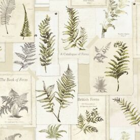 3 Rolls of Fern Pattern Wallpaper