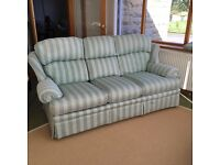 Marks and Spencer 3 seater sofa green stripe with fire retardant tags. Very very good condition.