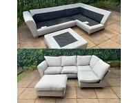Grey fabric corner sofa with footstool can be delivered