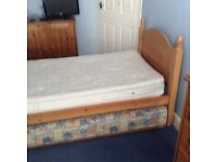 3 foot single bed with pull-out bed underneath. Pine with slatted frame