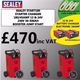 3X SEALEY START180 STARTER CHARGER 180/45AMP 12 & 24V 230V 30-500AH WHOLESALE/BULK BUYING KIT