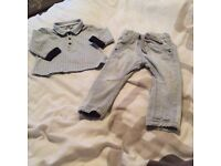 Armani baby boys grey top & next jeans 9-12 months