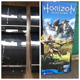 4 x faulty PlayStation 3 consoles and Horizon 3D poster