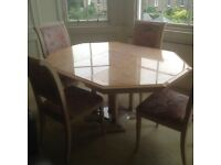 ITALIAN DESIGNER EXTENDABLE DINING TABLE AND 4 CHAIRS