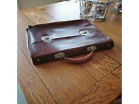 vintage leather document case. retro brief case. vintage leather. decor (1253)