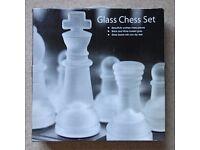 Glass Chess Set. Brand NEW. Large 35cm x 35cm. 3.5kg.