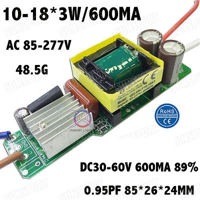 5pieces Ac85-277v 40w Pf0.95 Led Driver 10-18x3 600ma Dc30-60v Constant Current