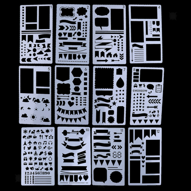 12pcs+Plastic+Journal+Stencil+Drawing+Template+Ruler+for+DIY+Planner+Diary