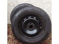 2 Goodyear Ultra Grip 8 winter tyres on steel wheels fits Ford Focus mk2