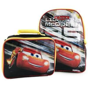 Disney Pixar Cars 3 Lightning McQueen Boys School Backpack with Lunch Kit