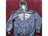 Women's Abercrombie & Fitch blue hoodie zip jumper size M