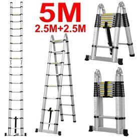 New Boxed 5M Multi-Purpose Aluminium Folding Telescopic Ladder A Frame Extendable Ladder Home Work