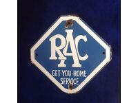 RAC GET YOU HOME VINTAGE ENAMEL SIGN FROM 1950s