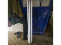 Three 6 feet fluorescent light fittings and tubes FREE