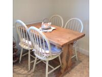 Beautiful old pine bench table & 4 chairs, selling lots of furniture due to moving!