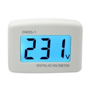 LCD Digital Voltage Tester and Voltmeter Volt Monitor - AC 80V 300V - AC Panel Meter - Blue Backlight Display - White -