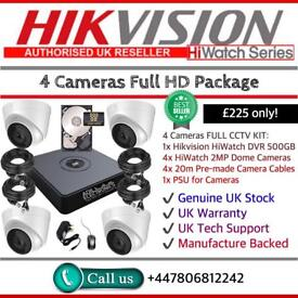 Hikvision HiWatch CCTV: 4CH Hikvision Turbo-HD Cube, 4x HiWatch 2MP 1080P Dome Cameras