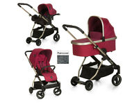I'COO ACROBAT 3 IN 1 TRAVEL SYSTEM PRAM PUSHCHAIR IN DIAMOND RUBY COLOUR ISOFIX CAR SEAT FROM BIRTH