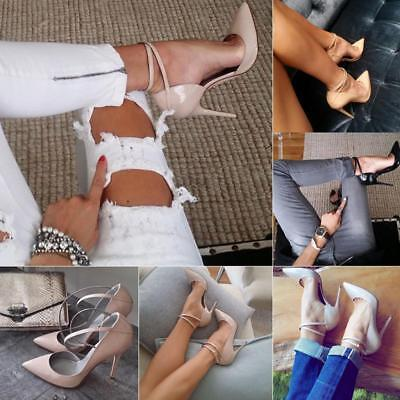 Women High Heels Ankle Strap Buckle Shinny Stiletto Pointed Toe Party Sexy Shoes Strap Sexy High Heels