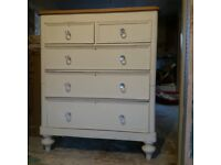 Antique chest of drawers in cream with oak top