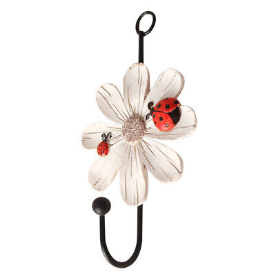 Daisy Flower Type Wall Hook Door Hanger for Clothes Coat Hat Key Towel White