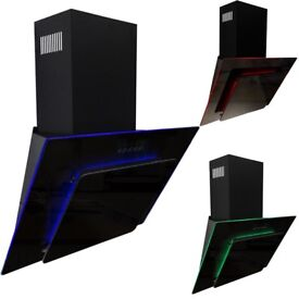 SIA ANGLED 80CM COOKER HOOD WITH COLOURED LED LIGHTS