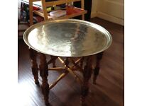 Brass top antique table