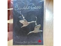 Pewter Canadian Flying Goose Drop Pierced Earrings Beautiful Gorgeous Gift Handcrafted in Canada.