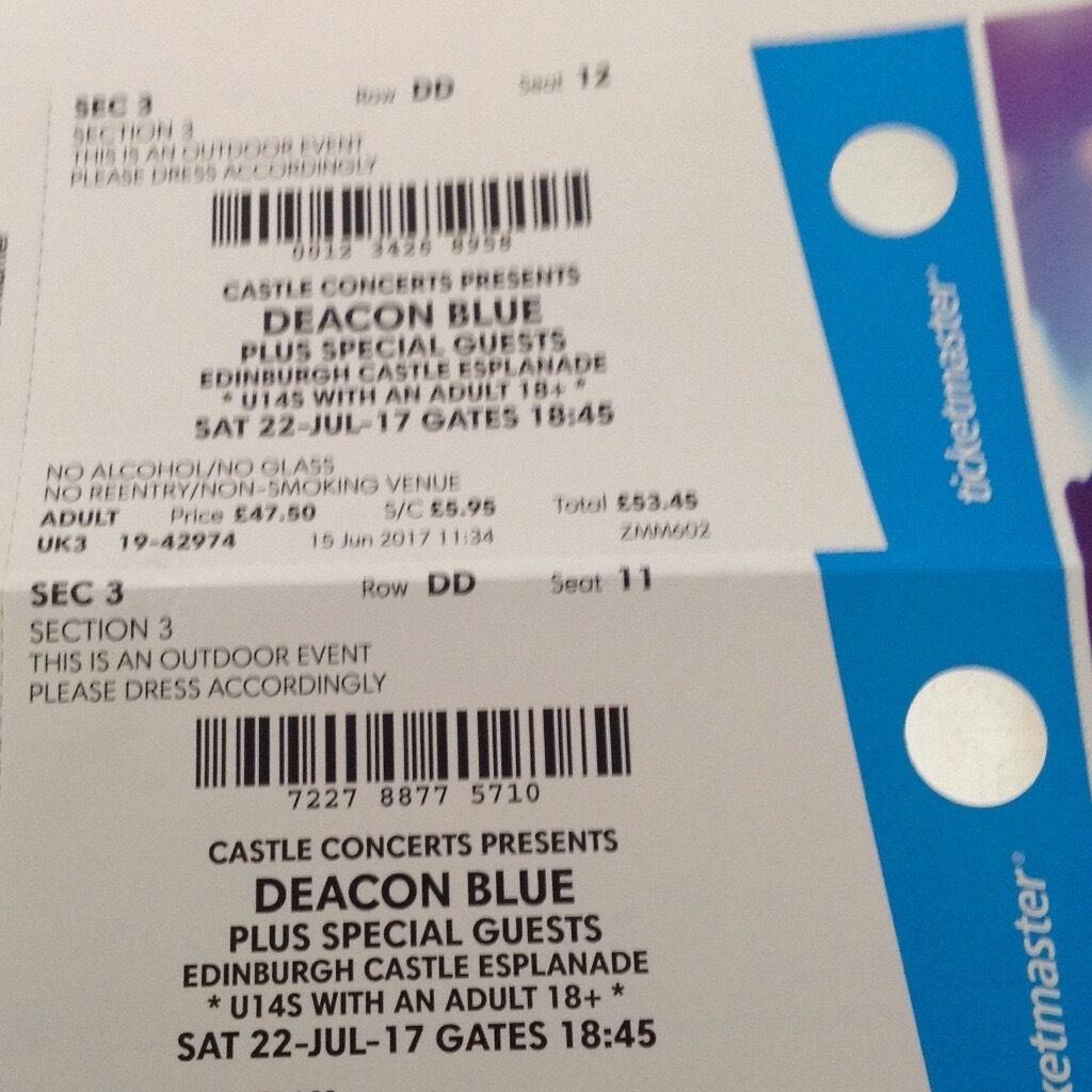 deacon blue tickets x 2 - edinburgh castle esplanade sat 22nd july