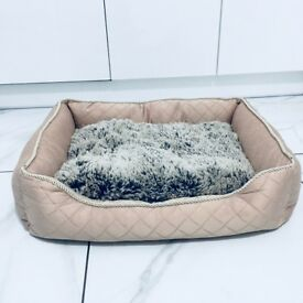Brand new pink quilted dog bed with fur