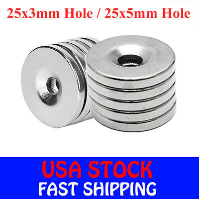 5-50pcs N35 Countersunk Ring Round Disc Strong Magnets Rare Earth Neodymium Hole