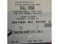 2 Niall Horan Standing Tickets - SSE Arena - 13th March 2017
