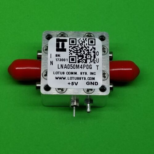 Broadband Low Noise Amplifier 0.8dB NF 50MHz to 4GHz 18dB Gain 22dBm P1dB SMA