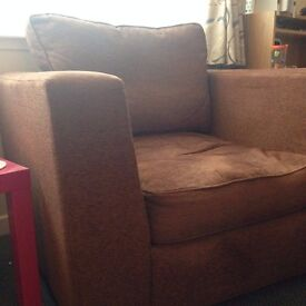 Brown Fabric Armchair