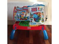 Mega Blocks table and 2 bags with a total of 220 blocks