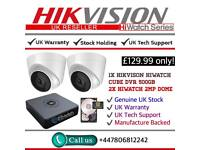 Hikvision HiWatch CCTV: 4CH Hikvision Turbo-HD Cube, 2x Hikvison 1080P Dome Cameras