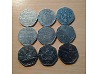 Collection of 9 rare 50p coins.