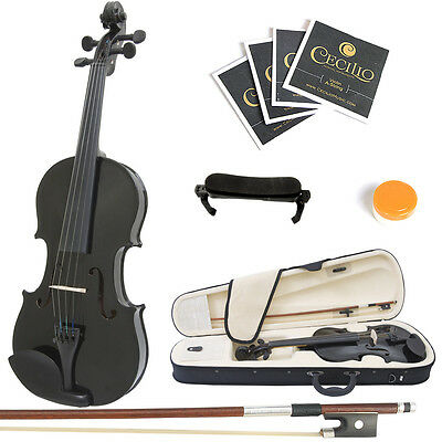 Mendini Size 4/4 Solidwood Violin Metallic Black +ShoulderRest+ExtraStrings+Case