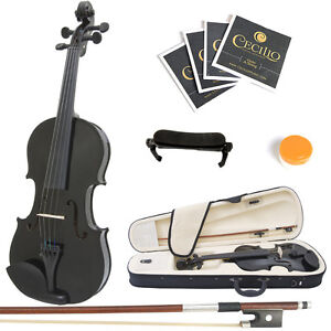 Mendini-Size-4-4-MV-Black-Solidwood-Violin-ShoulderRest-xtra-Strings-Case-Tuner