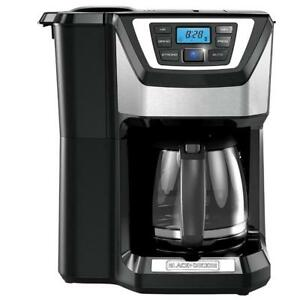 BLACK+DECKER Mill & Brew 12 Cup Programmable Coffeemaker with Built-In Grinder, Black
