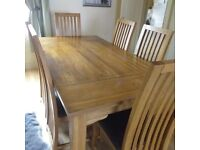 Solid Wood Dining Table and Six Chairs