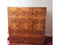 Walnut 3 door wardrobe. Smaller matching cupboard