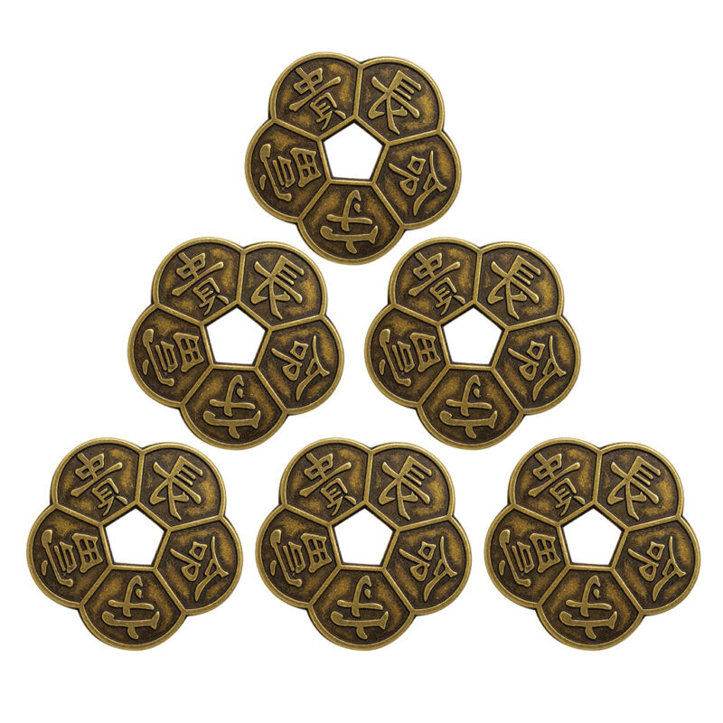 6pcs Bronze Chinese Old Copper Coin Plum Blossom Coins China Feng Shui
