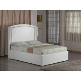 BRAND NEW DOUBLE WHITE FAUX LEATHER BED FRAME WITH TALL WING STYLE HEADBOARD WITH MATTRESS OF CHOICE