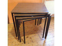 4 x Formica topped square stacking table.