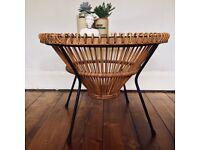 Vintage Franco Albini 1950s Wicker and Cane Coffee Table Design Classic